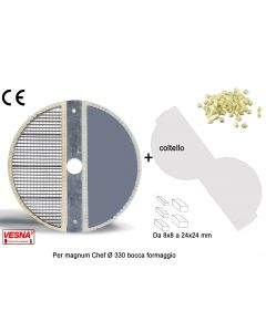 Dischi per cubettare da abbinare ai coltelli MC spessore da 8x8 a 24x24 mm per Chef Magnum TV Ø 330