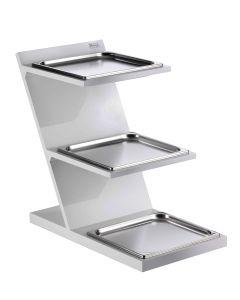 Espositore a 3 piani refrigerato con bacinelle GN 2/3 Bianco Pintinox