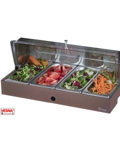 Vassoi inox refrigerati porta verdure con base colore Salvia, Burro, Caffè, Carbone Pinti