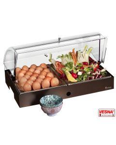 Espositore refrigerato con vassoi porta uova e verdure C/base colore Caffè Pinti