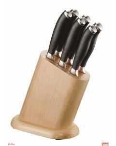 Coltelli con lama seghettata 6 pezzi/ceppo in legno Pininox