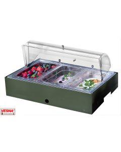 Vassoio refrigerato porta Yogurt Frutta Verdura sfusi in inox 18/10 con base Salvia