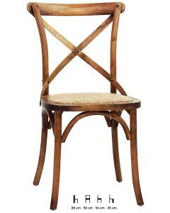 Sedia in legno anticato e rattan
