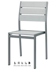 Sedia alluminio satinato e materiale composito
