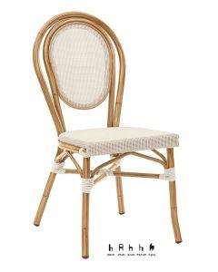 Sedia in alluminio verniciato bambù, seduta textilene