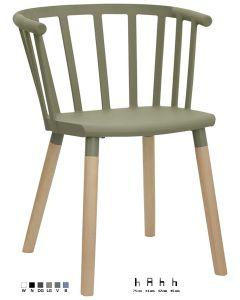 Poltroncina in polipropilene e metallo, gambe in legno