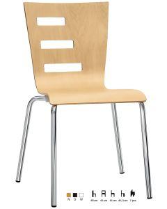 Sedia in acciaio cromato Ø 22 mm, scocca in legno