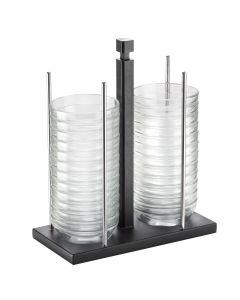 Porta ciotole 24 Pezzi di ciotole in vetro da Ø 12 cm struttura legno laccato wenge Pitntinox