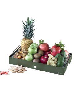 Vassoi porta frutta completi di base colore Salvia,Burro,Caffè,Carbone