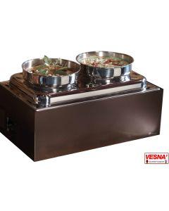 Zuppiere 2 stazioni riscaldata con fornelletti Lt.10 opzione colore base Salvia, Burro, Caffè, Carbone