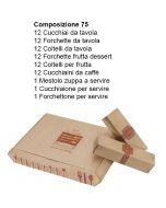 Posate Leonardo da 75 pezzi Inox 18/10 con Astuccio in Cartone