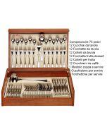 Set posate Inox 18/10 Synthesis 75 pz con bauletto in legno Pinti